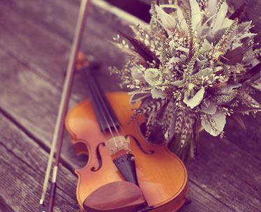 violin en banco de una boda